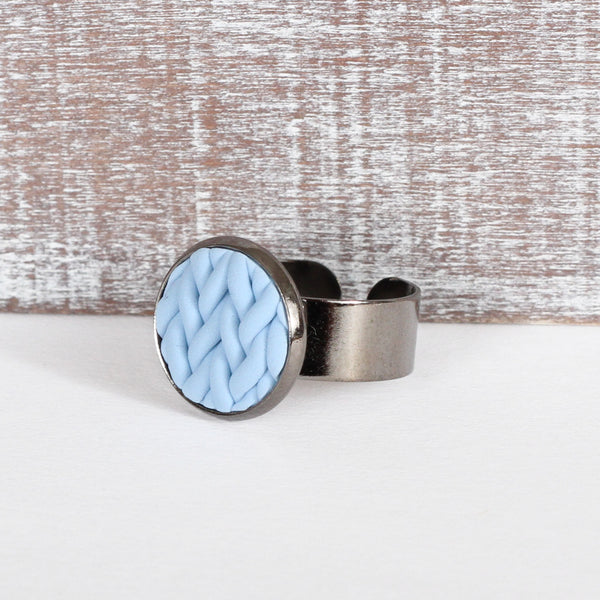 Pastel Blue knitted clay ring
