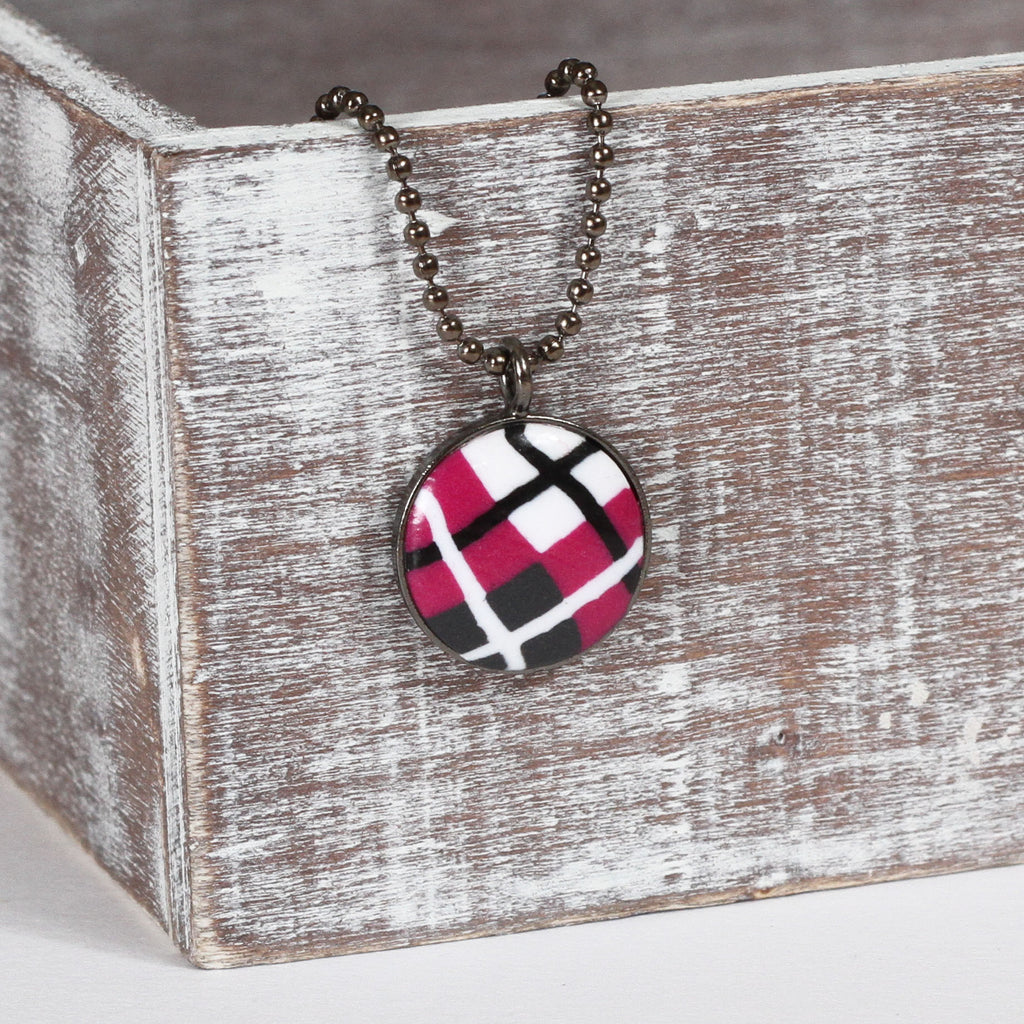 Pink Tartan clay necklace