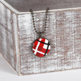 Red Tartan clay necklace