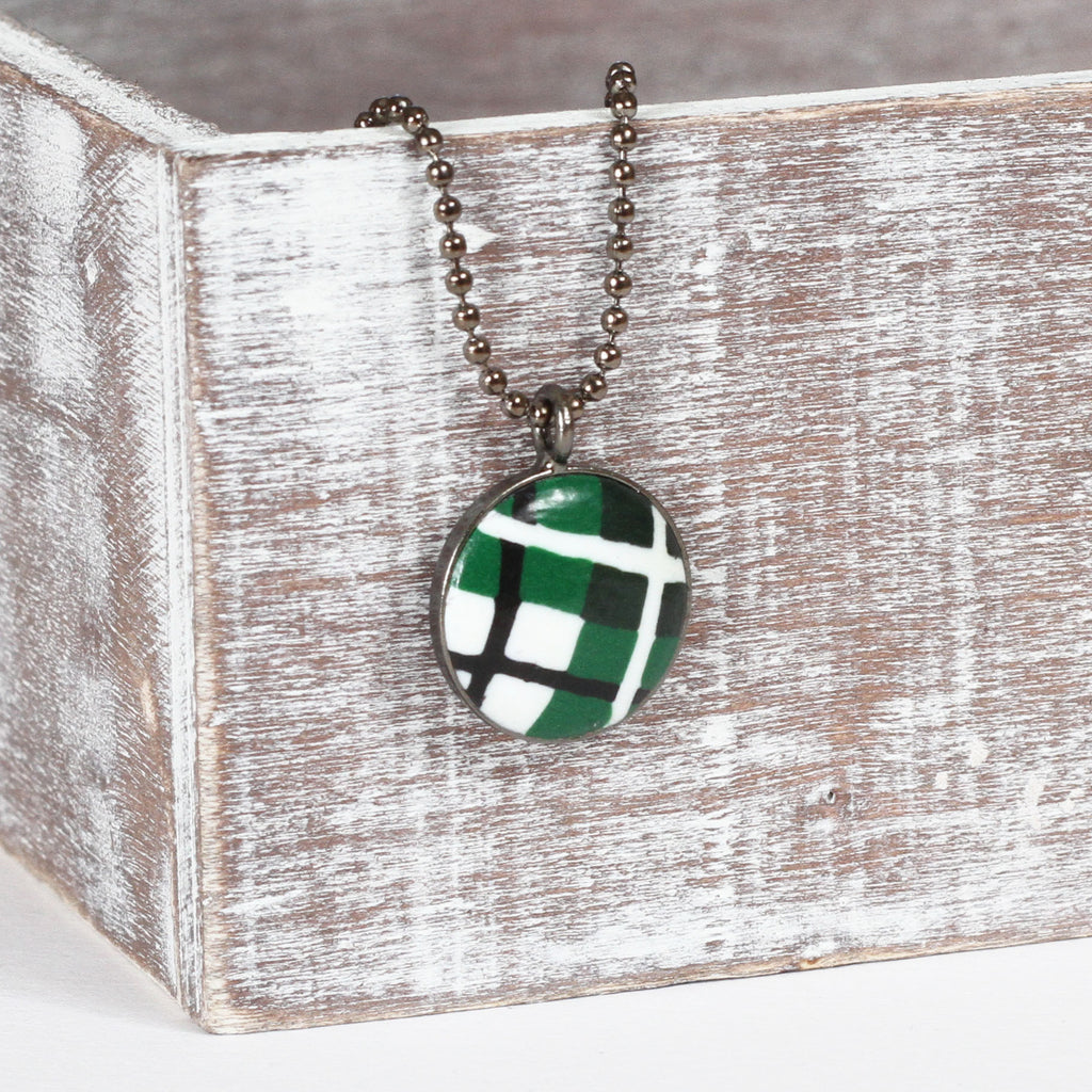 Green Tartan clay necklace