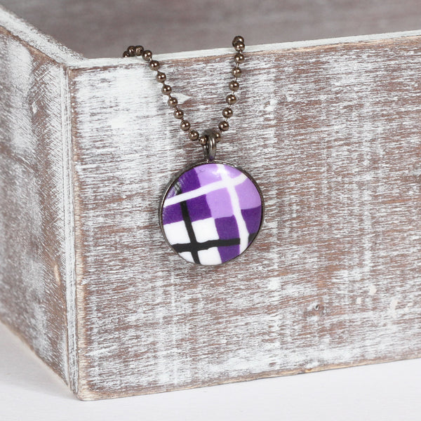 Purple Tartan clay necklace