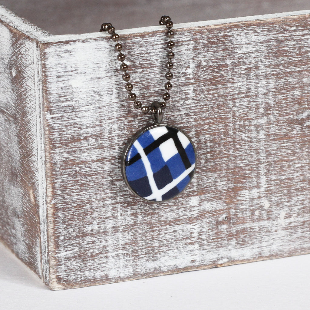 Blue Tartan clay necklace