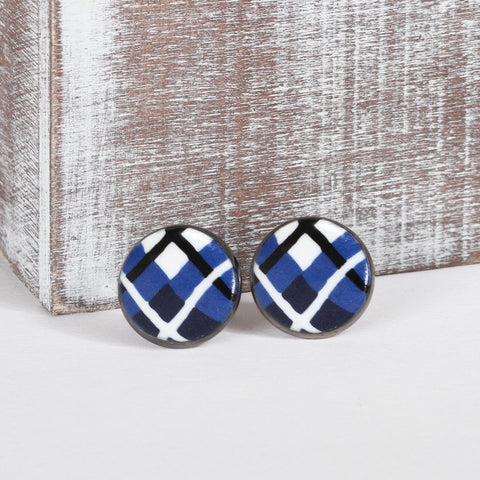 Blue Tartan Clay Earrings