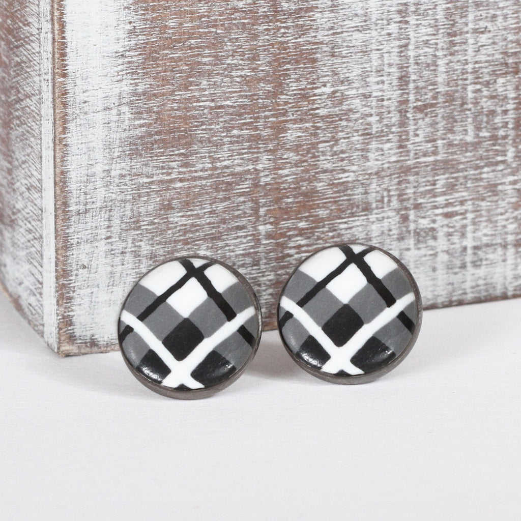 Black Tartan Clay Earrings