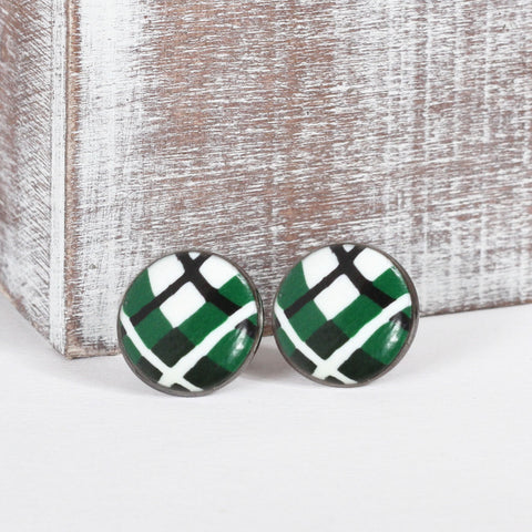 Green Tartan Clay Earrings
