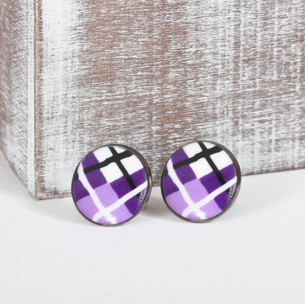 Purple Tartan Clay Earrings