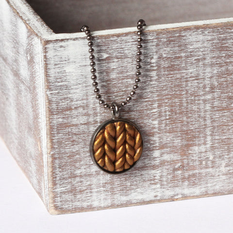 Metallic copper Knitted clay pendant