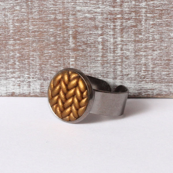 Metallic copper Knitted clay ring