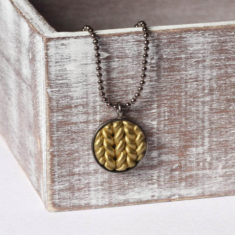 Metallic gold Knitted clay pendant