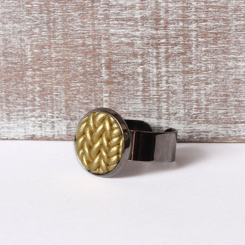 Metallic gold Knitted clay ring