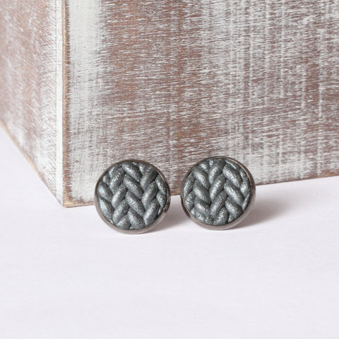 Metallic gunmetal Knitted clay earrings