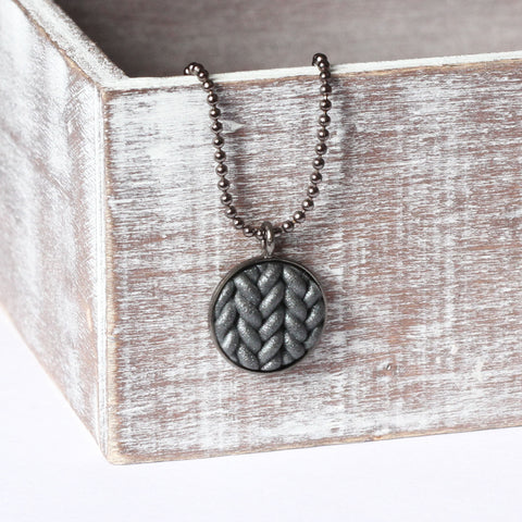 Metallic gunmetal Knitted clay pendant