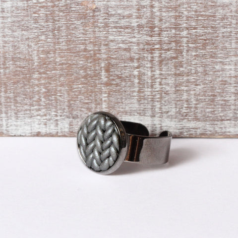 Metallic gunmetal Knitted clay ring