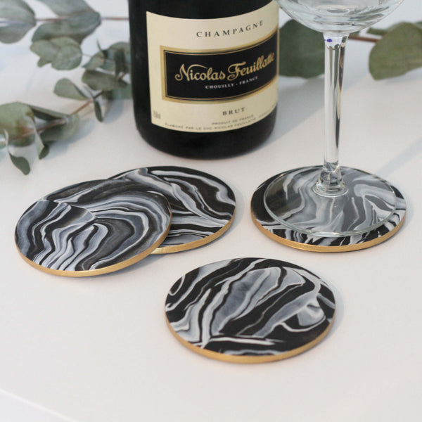 Marble coasters with metallic gold edging - Set of 4