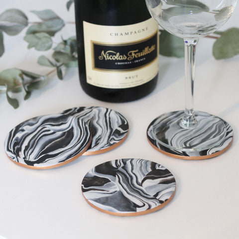 Marble coasters with metallic copper edging - Set of 4