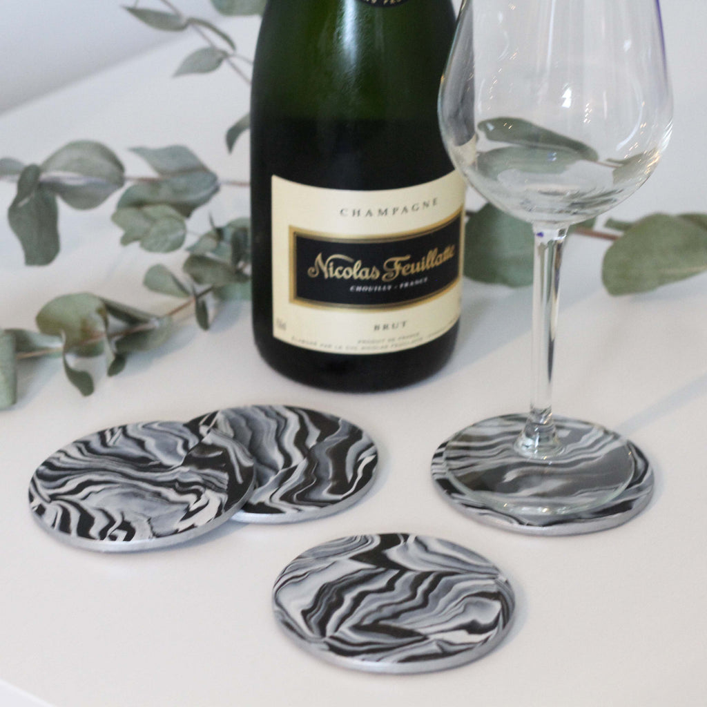 Marble coasters with metallic silver edging - Set of 4