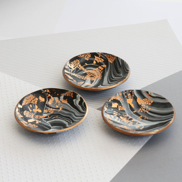 Marble and copper trinket dish