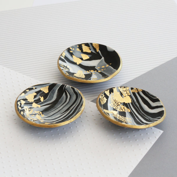 Marble and gold trinket dish