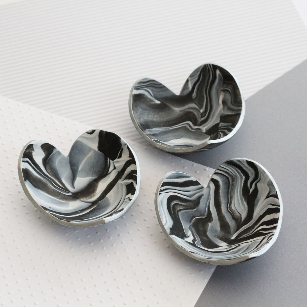 Marble clay heart trinket dish - silver edging