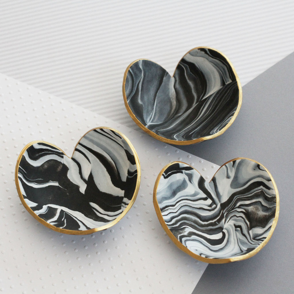 Marble clay heart trinket dish - gold edging