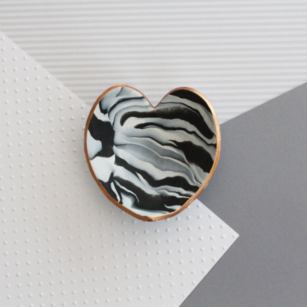 Marble clay heart trinket dish - copper edging