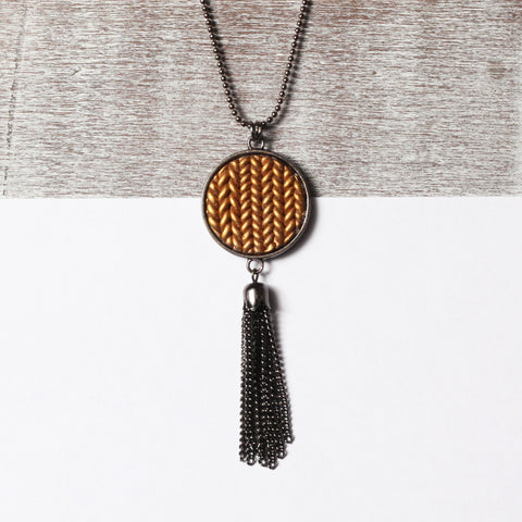 Metallic copper Knitted clay tassel pendant