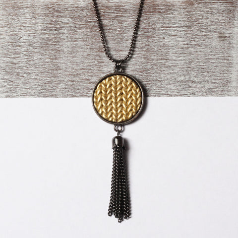 Metallic gold Knitted clay tassel pendant