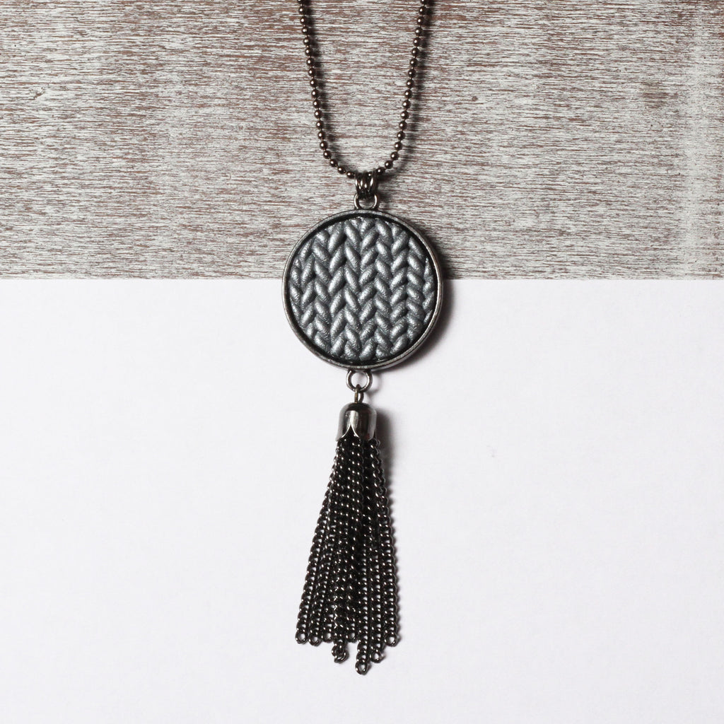 Metallic gunmetal Knitted clay tassel pendant