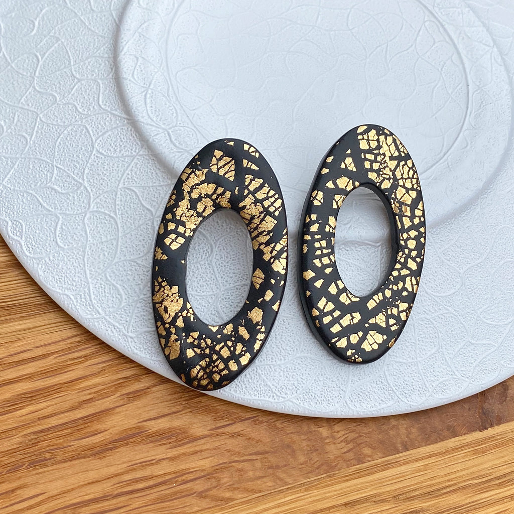 Gold foil oval donut statement earrings