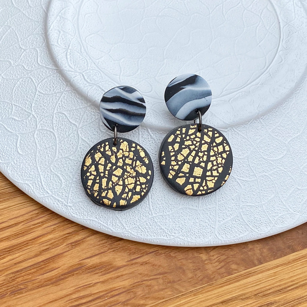 Gold foil and marble disc statement earrings