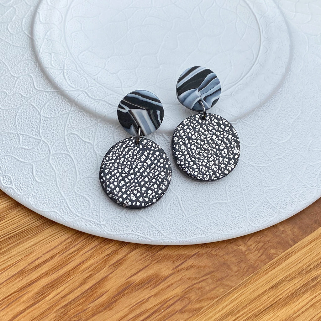 Silver foil and marble disc statement earrings