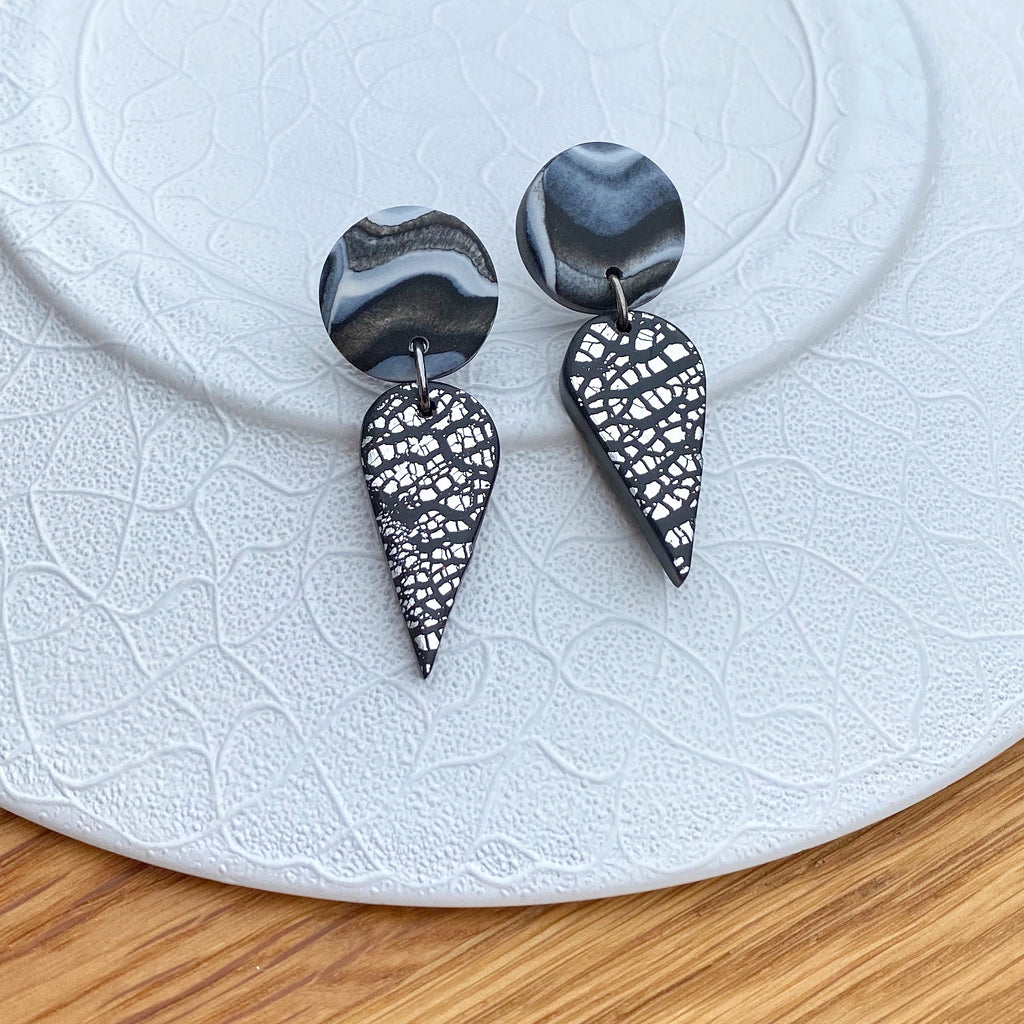Silver foil and marble teardrop statement earrings