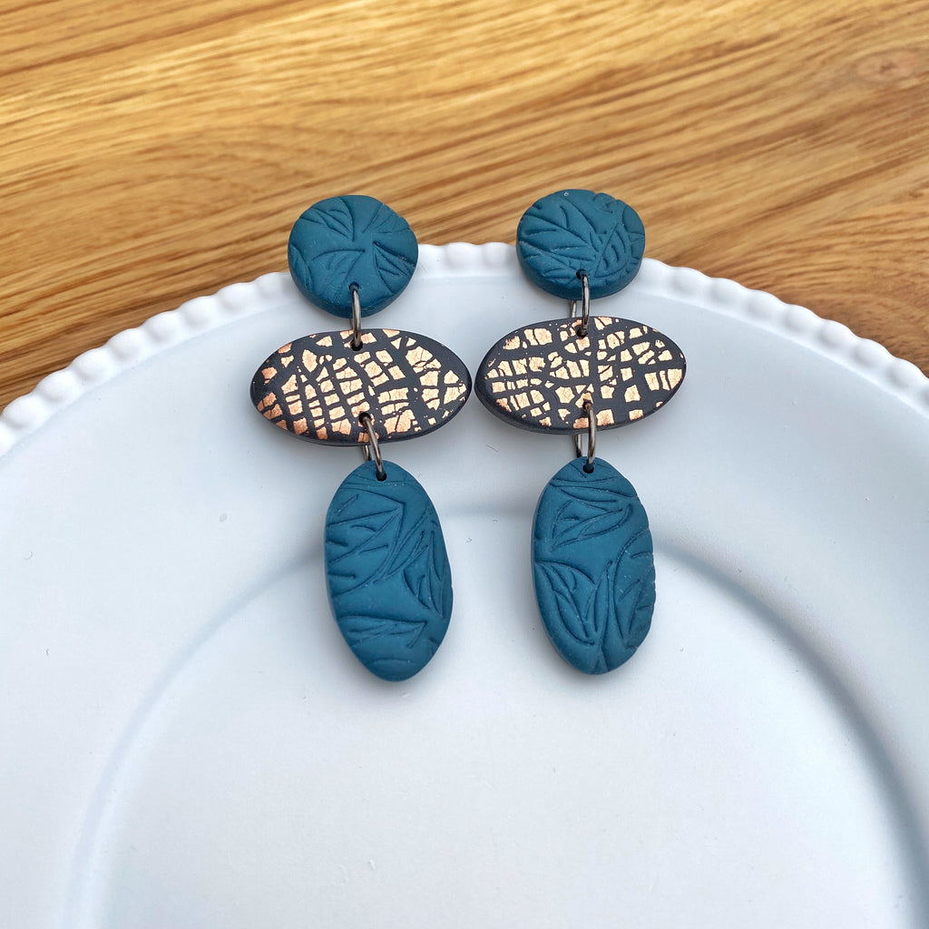 Oval trio drop, teal with copper statement earring