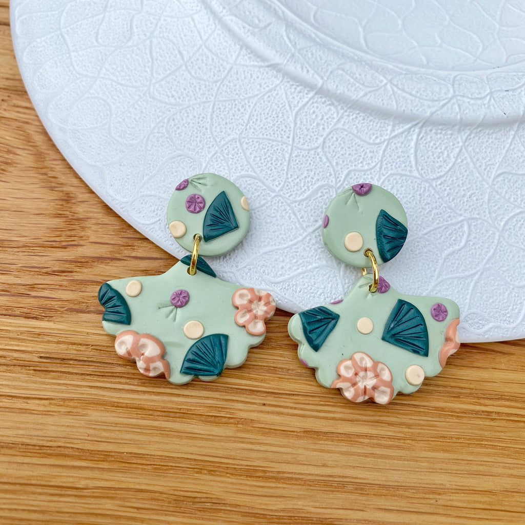 Sage green and peach flower statement earrings - Scalloped shape