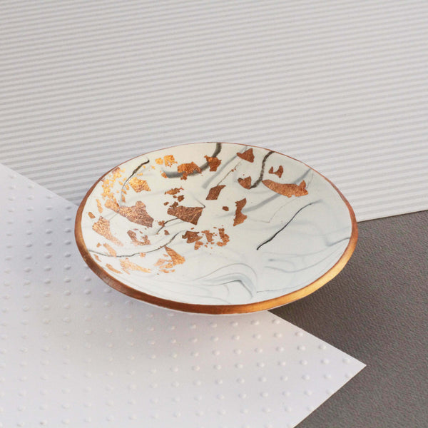 White marble and copper trinket dish