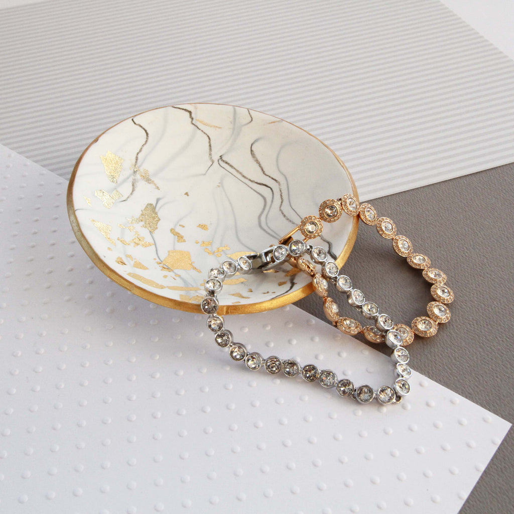 White marble and gold trinket dish