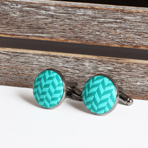 Turquoise clay tweed cufflinks