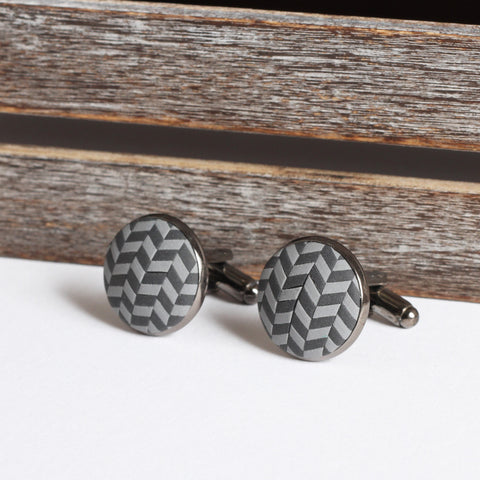 Grey clay tweed cufflinks