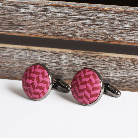 Burgundy clay tweed cufflinks