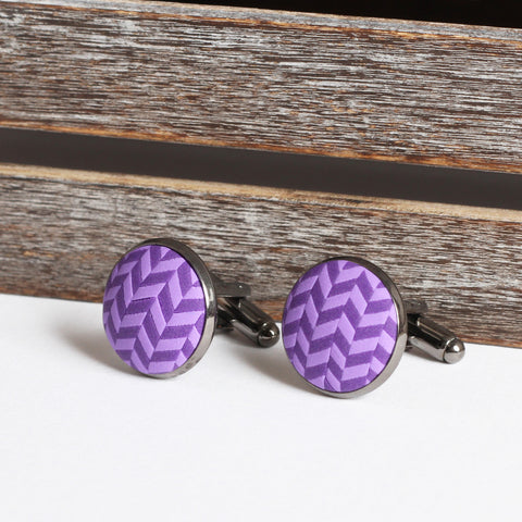 Purple clay tweed cufflinks