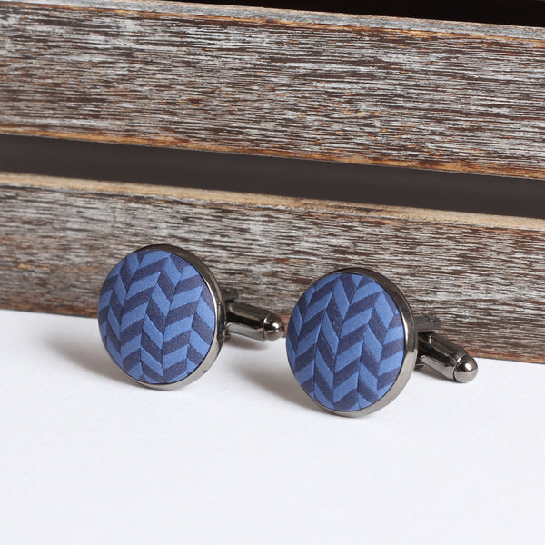 Navy clay tweed cufflinks