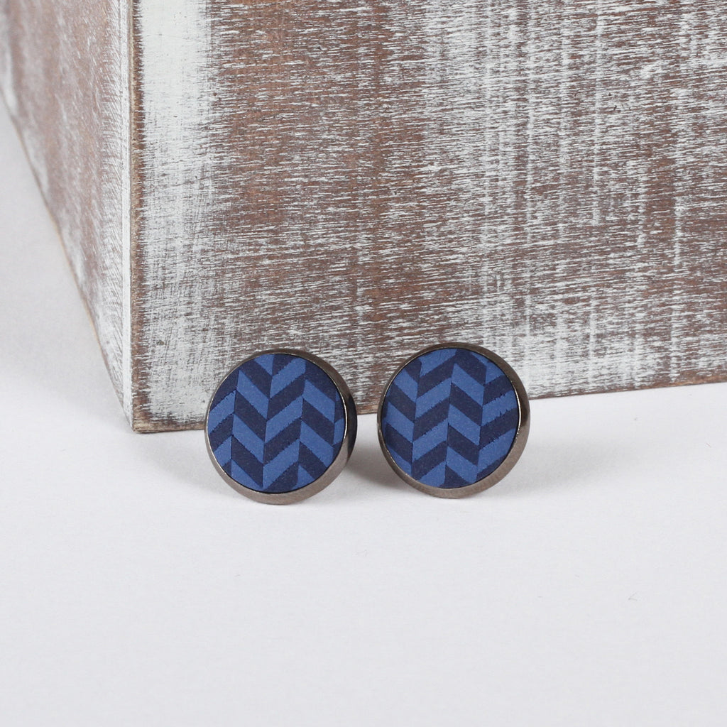 Navy Tweed clay earrings