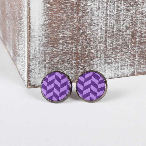 Purple Tweed clay earrings