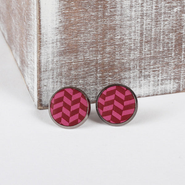 Burgundy Tweed clay earrings