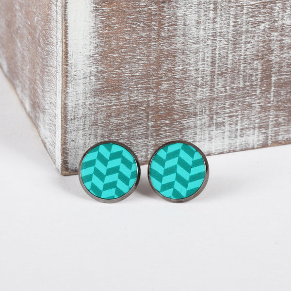 Turquoise Tweed clay earrings