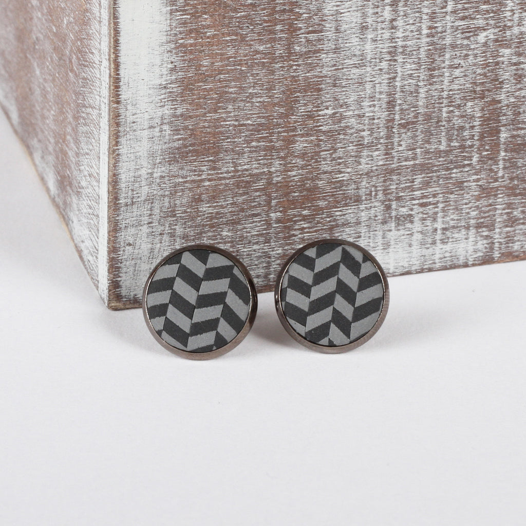 Grey Tweed clay earrings