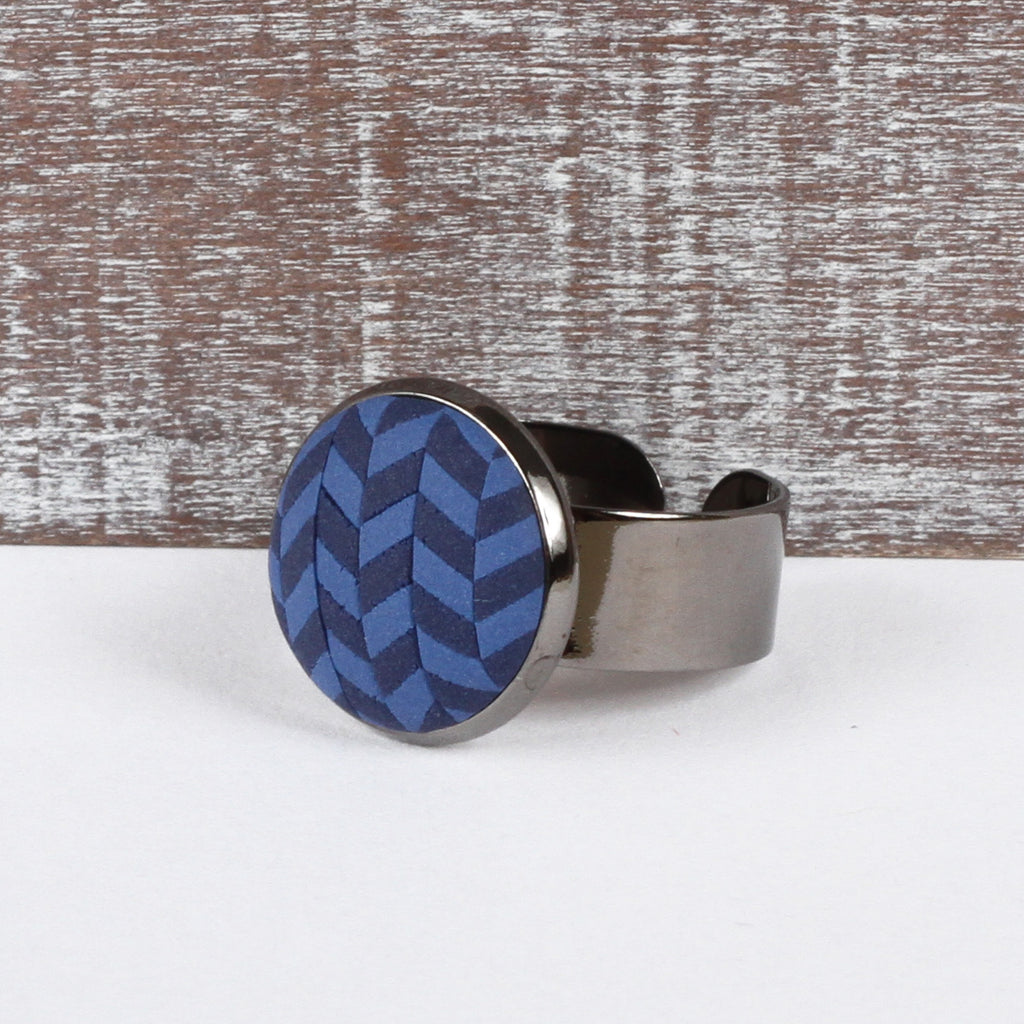 Navy Tweed clay ring