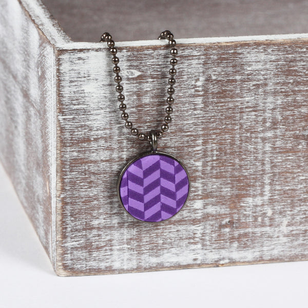 Purple tweed clay pendant
