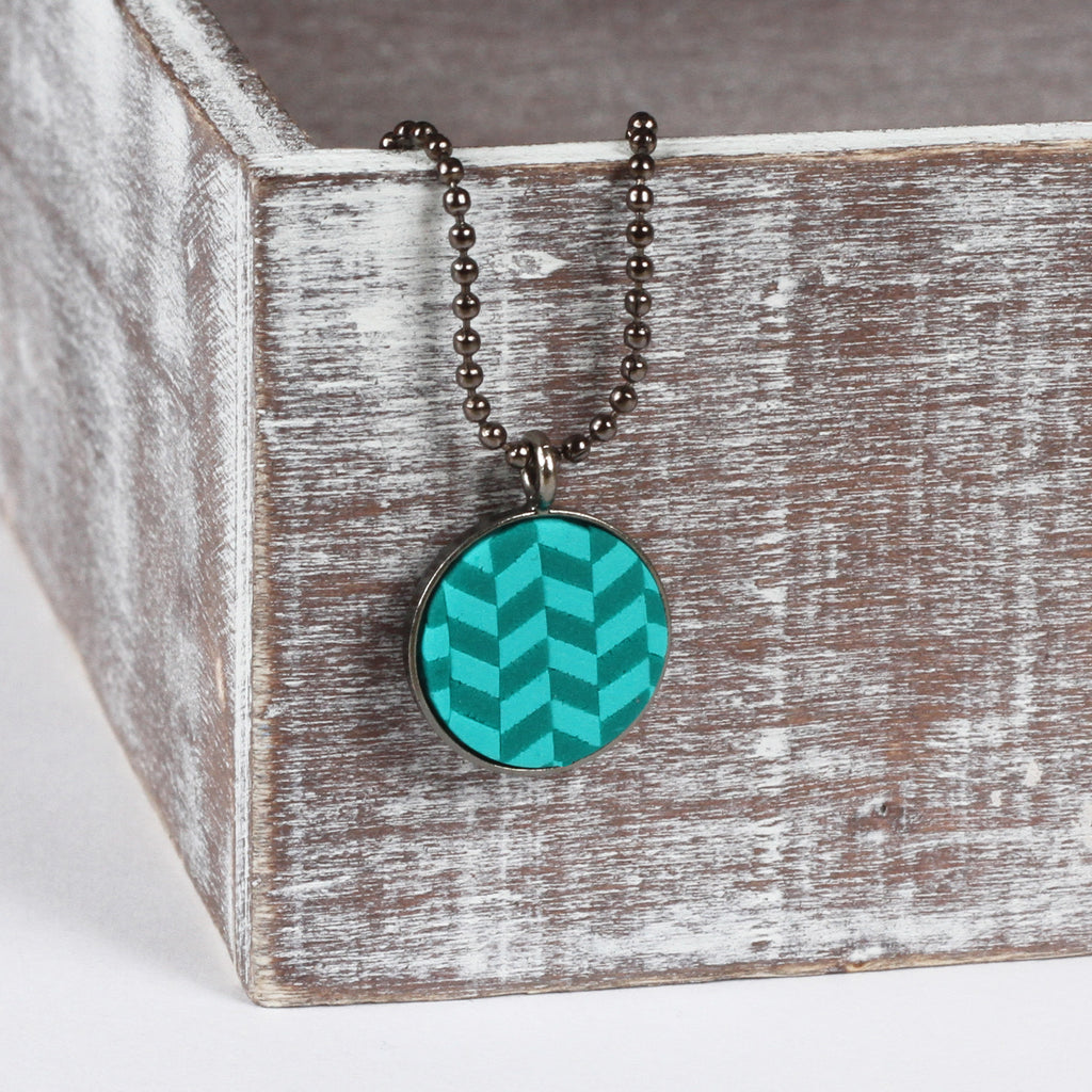 Turquoise tweed clay pendant