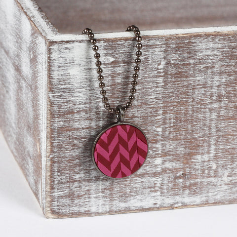 Burgundy tweed clay pendant